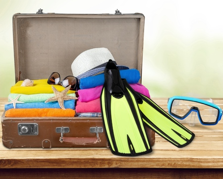 over packed: Summer travel. Stock Photo