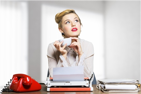 old fashioned rotary phone: Secretary. Stock Photo