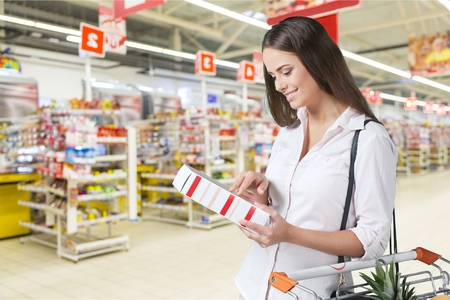 food shelf: Supermarket. Stock Photo
