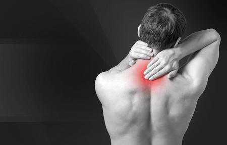 hand on shoulder: Pain.