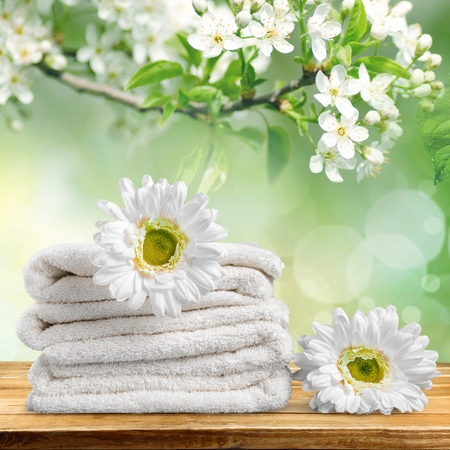 spa flower: Towel.
