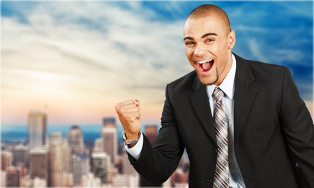 facial expression: Winning. Stock Photo