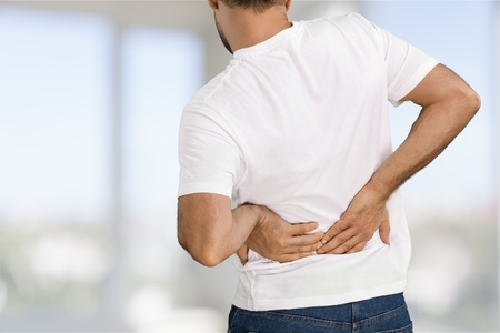 back injury: Backache.