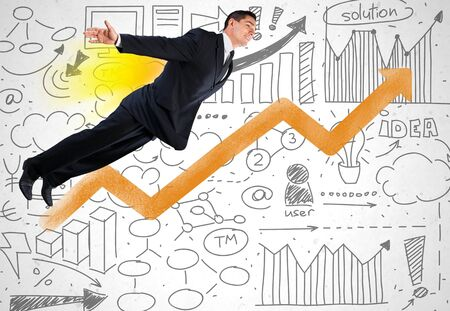 flying man: Speed business. Stock Photo