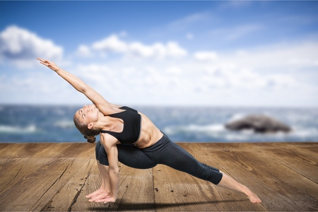 parsvakonasana: Yoga posing. Stock Photo