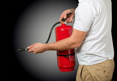 fire extinguisher: Fire training. Stock Photo