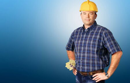 obrero trabajando: Obrero. Foto de archivo