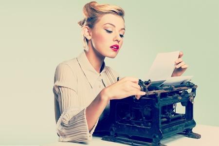 medium length hair: Retro typewriter.