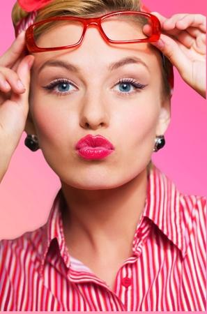 glasses model: Pink lip gloss.
