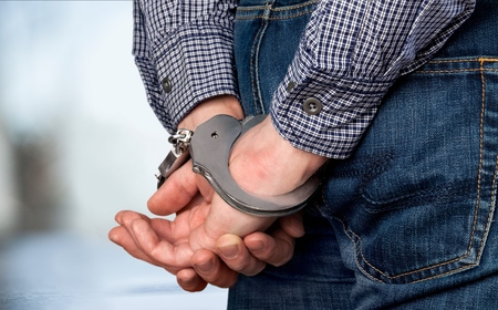 crime: Busted crime. Stock Photo