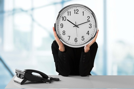 late: Working Late. Stock Photo