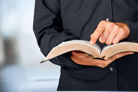 preacher: Bible Priest. Stock Photo