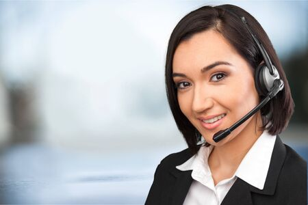 handsfree device: Customer Service Representative. Stock Photo