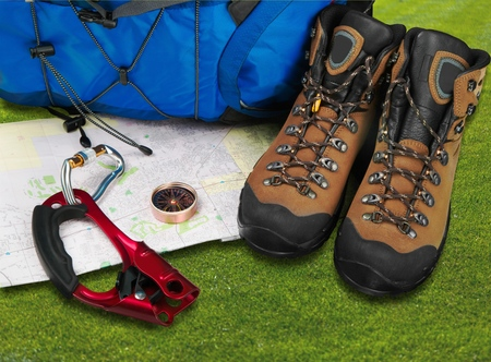 outdoor pursuit: Hiking and Camping. Stock Photo