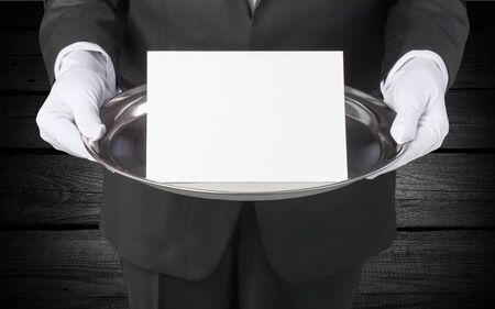 domestic staff: Butler Sign. Stock Photo
