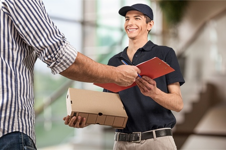 receiving: Delivering. Stock Photo