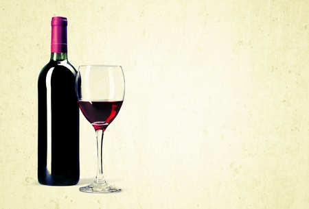 glass of red wine: Wine Bottle. Stock Photo