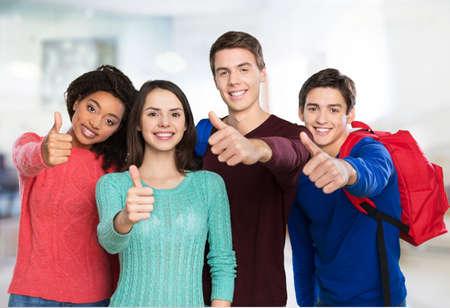 school exam: Students.