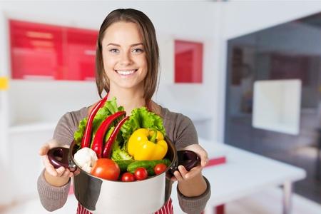 vertical fridge: Cooking. Stock Photo