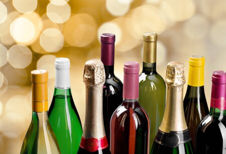 high section: Wine Bottle. Stock Photo