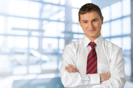 expressing positivity: Businessman. Stock Photo