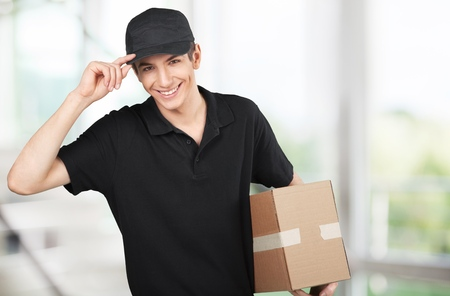moving crate: Delivering. Stock Photo