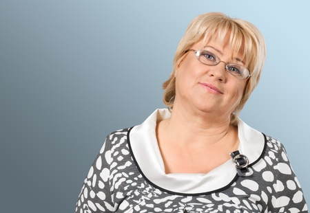 double chin: Senior Women. Stock Photo