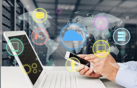 marketing online: Laptop. Stock Photo