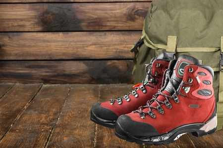 hillwalking: Leather boots walking. Stock Photo