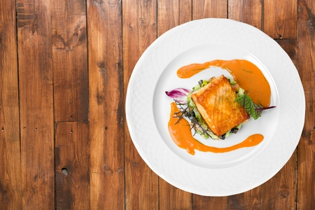 fish plate: Salmon. Stock Photo