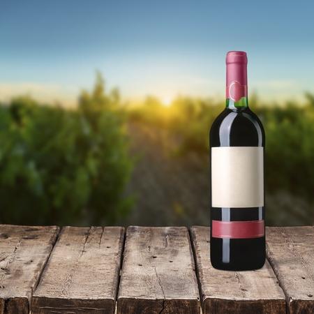 a bottle: Wine Bottle. Stock Photo