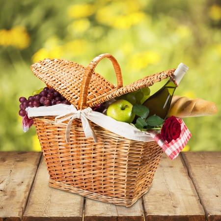 in the basket: Picnic Basket.