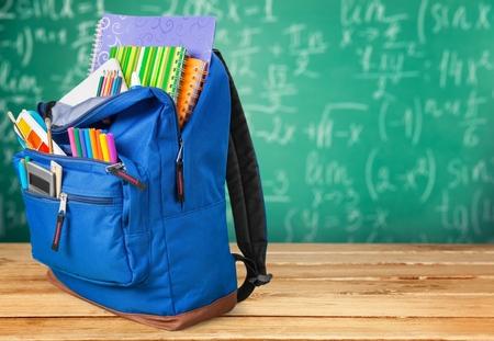 school backpack: School.