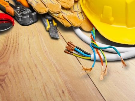 work tools: Electricista. Foto de archivo