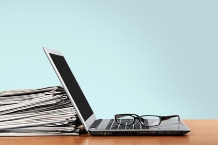 press news: Laptop. Stock Photo