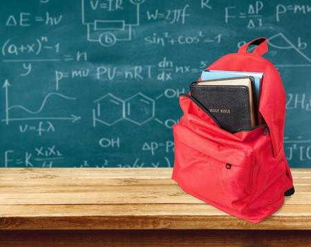 black bible: Backpack.