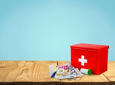 emergency kit: First Aid Kit.