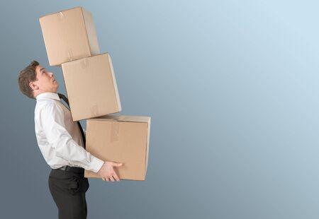 overburdened: Box. Stock Photo