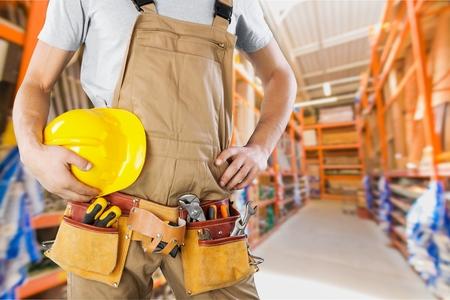 construction site: Repairman. Stock Photo