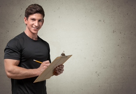 clipboard: Instructor. Stock Photo