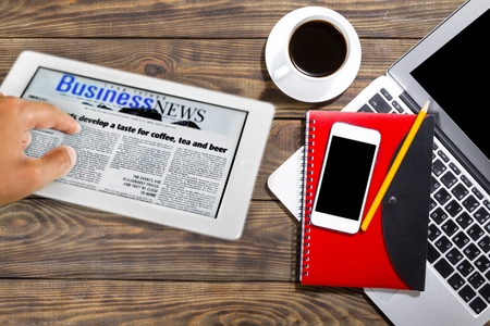 multitouch: Newspaper. Stock Photo