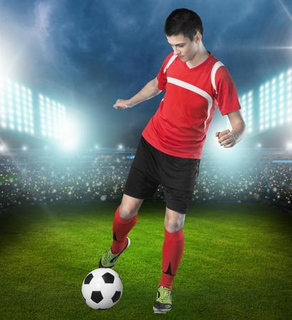 patada: Soccer. Foto de archivo