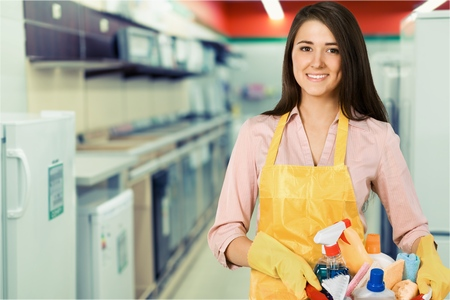stereotypical housewife: Cleaning. Stock Photo