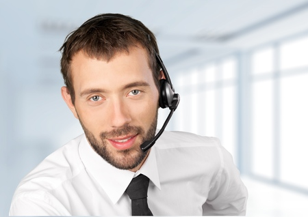 service man: Customer Service Representative. Stock Photo