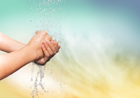 the human hand: Washing Hands. Stock Photo
