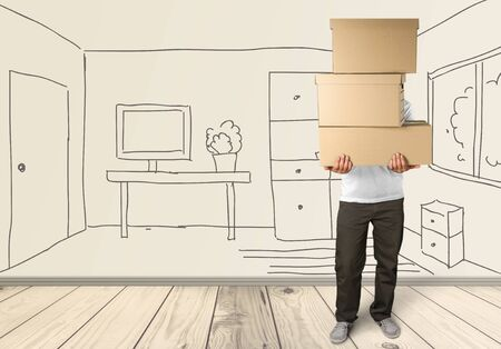 home moving: Box. Stock Photo