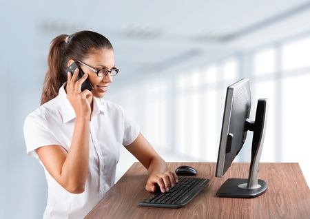 using voice: On The Phone. Stock Photo