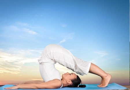 good posture: Yoga. Foto de archivo