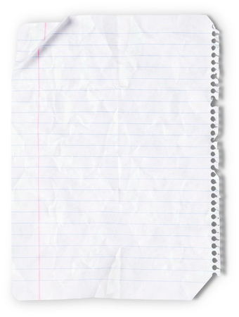 folded: Lined Paper. Stock Photo
