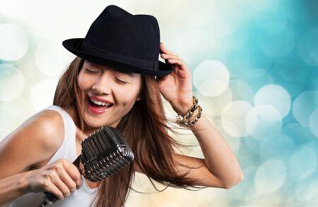 karaoke singer: Singer. Stock Photo